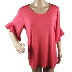 Anthropologie Pleione Sz M Pink Top Ruffle Sleeve